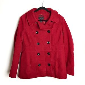 Style & Co Red Double-Breasted Pea Coat Size Large
